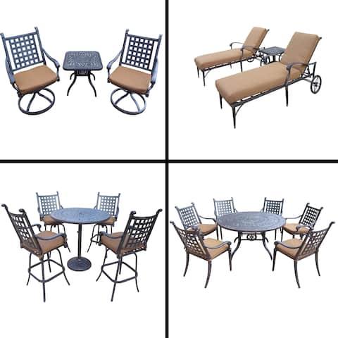 Sunbrella Cushioned Set includes 5 Pc Bar Set, 7 Pc Dining Set, 3 Pc Chaise Lounge Set and 3 Pc Swivel Rocker Chat Set