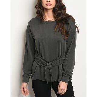 JED Women's Long Sleeve Light Sweatshirt with Waist Cincher|https://ak1.ostkcdn.com/images/products/18143305/P24291430.jpg?impolicy=medium