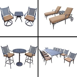 Sunbrella Cushioned Set with 13 Pc Dining Set, Extendable Table, 3 Pc Bar Set, 3 Pc Chaise Lounge Set and 3 Pc Swivel Rocker Set
