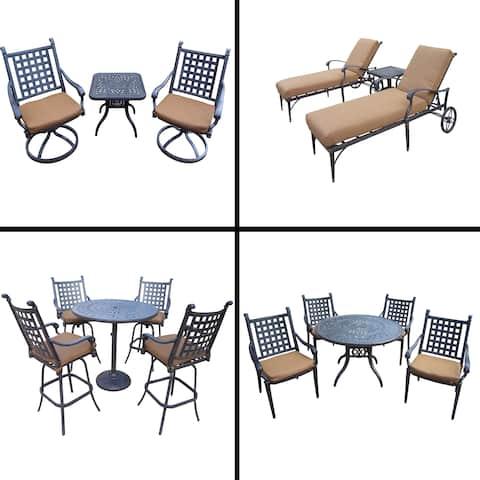 Premier Sunbrella Cushioned Set with 5 Pc Dining Set, 5 Pc Bar Set, 3 Pc Chaise Lounge Set and 3 Pc Swivel Rocker Chat Set