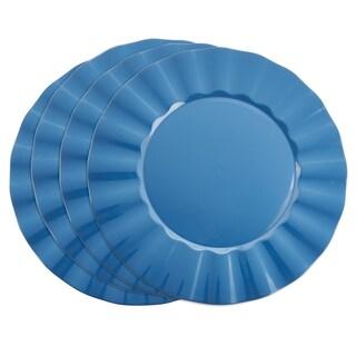Metallic Ruffle Border Round Charger Plate - set of 4 pcs (Option: Blue)