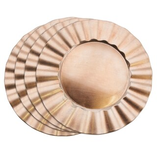 Metallic Ruffle Border Round Charger Plate - set of 4 pcs (Option: rose gold)
