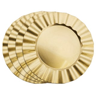 Metallic Ruffle Border Round Charger Plate (Set of 4) (2 options available)