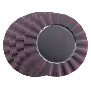 Metallic Ruffle Border Round Charger Plate - set of 4 pcs (Option: eggplant)