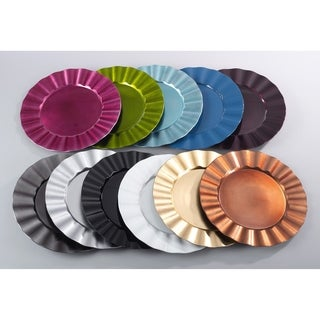 Metallic Ruffle Border Round Charger Plate (Set of 4)