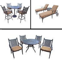 Sunbrella Cushioned Set includes 5 Pc Bar Set, 5 Pc Dining Set with Stackable Chairs and 3 Pc Chaise Lounge Set