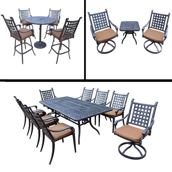 Premier Sunbrella Cushioned Set includes 5 Pc Bar Set, 9 Pc Dining Set, 3 Pc Swivel Rocker Chat Set