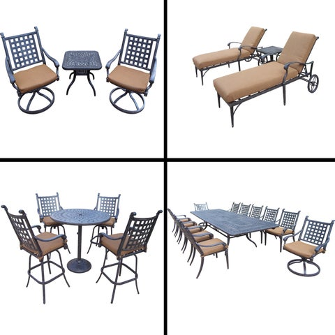 Sunbrella Cushioned Set 13 Pc Dining Set with Extendable Table, 5 Pc Bar Set, 3 Pc Chaise Lounge Set and 3 Pc. Swivel Rocker Set