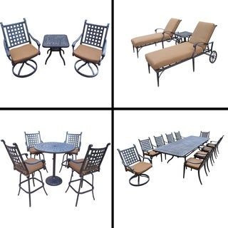 Premier Sunbrella Cushioned Set with 11 Pc Dining Set, 5 Pc Bar Set, 3 Pc Chaise Lounge Set and 3 Pc Swivel Rocker Chat Set