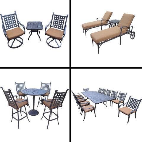 Sunbrella Cushioned Set with 13 Pc Dining Set, Extendable Table, 5 Pc Bar Set, 3 Pc Chaise Lounge Set and 3 Pc Swivel Rocker Set