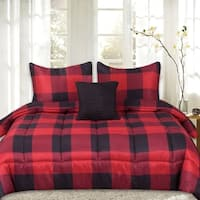 Sweet Home Collection 4 Piece Buffalo Check Comforter Set - Red/Black
