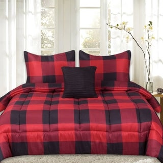 Sweet Home Collection 4 Piece Buffalo Check Comforter Set (Assorted Colors)
