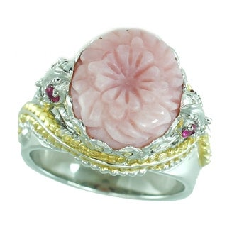Michael Valitutti Palladium Silver Flower Pink Opal, White Sapphire & Ruby Ring