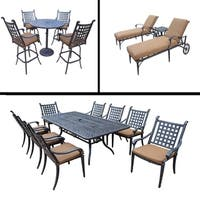 Premier Sunbrella Cushioned Set includes 5 Pc Bar Set, 9 Pc Dining Set with Stackable Chairs and 3 Pc Chaise Lounge Set