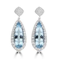 La Vita Vital Aquamarine 12.65cts TGW and Diamond 0.55ct TDW Earrings - Blue