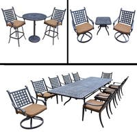 Sunbrella Cushioned Set includes 11 Pc Dining Set with Extendable Table, 3 Pc Bar Set and 3 Pc Swivel Rocker Chat Set