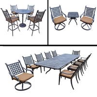 Sunbrella Cushioned Set includes 11 Pc Dining Set with Extendable Table, 5 Pc Bar Set and 3 Pc Swivel Rocker Chat Set