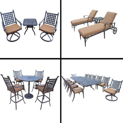 Sunbrella Cushioned Set with 5 Pc Bar Set, 13 Pc Dining Set, Extendable Table, 3 Pc Chaise Lounge Set and 3 Pc Swivel Rocker Set