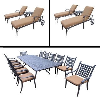 Sunbrella Cushioned Set includes 13 Pc Dining Set with Extendable Table & 12 Stackable Chairs and Two 3 Pc Chaise Lounge Sets
