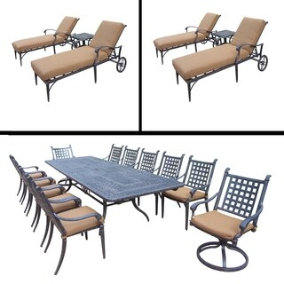 Premier Sunbrella Cushioned Set includes 13 Pc Dining Set with Extendable Table and Two 3 Pc Chaise Lounge Sets