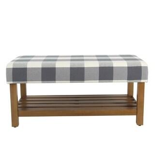 HomePop Decorative Bench with Wooden Storage - Blue Plaid