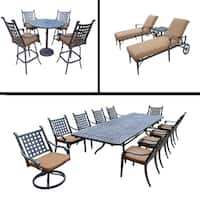 Premier Sunbrella Cushioned Set includes 5 Pc Bar Set, 11 Pc Dining Set with Extendable Table and 3 Pc Chaise Lounge Set