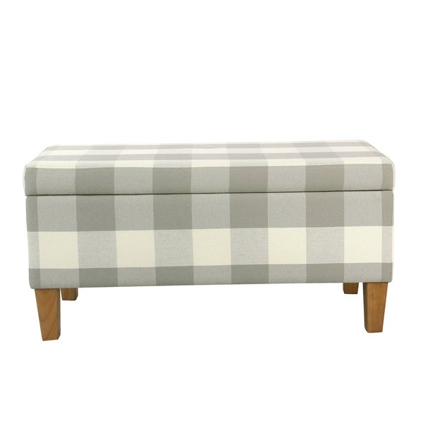 Porch Den Prospect Large Decorative Storage Bench Gray Plaid