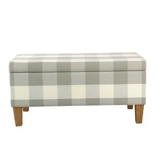 HomePop Large Decorative Storage Bench - Gray Plaid