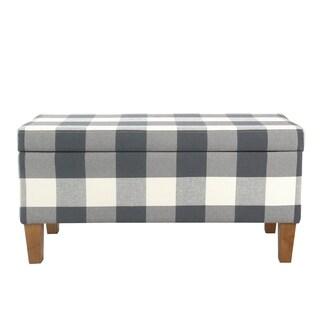 HomePop Large Decorative Storage Bench - Blue Plaid