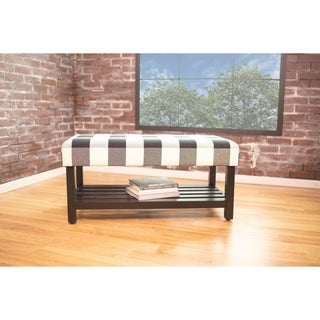HomePop Decorative Bench with Wooden Storage - Black Plaid