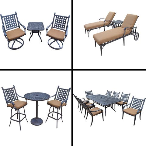 Sunbrella Cushioned Set with 3 Pc Bar Set, 9 Pc Dining Set with 8 Chairs, 3 Pc Chaise Lounge Set and 3 Pc Swivel Rocker Set