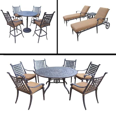Sunbrella Cushioned Set includes 5 Pc Bar Set, 7 Pc Dining Set with Round Table and 3 Pc Chaise Lounge Set