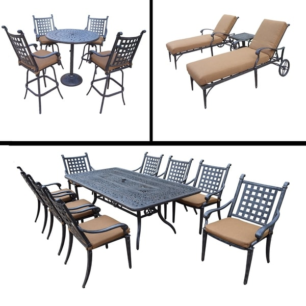 Sunbrella Cushioned Set with 5 Pc Bar Set, 9 Pc Dining Set with Rectangular Table & 8 Stacking Chairs and 3 Pc Chaise Lounge Set