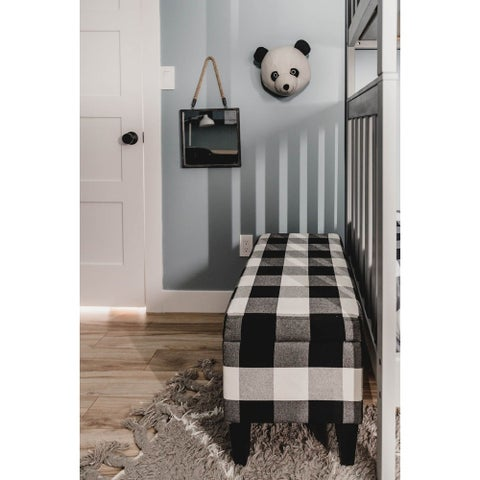 Palm Canyon Patos Large Decorative Storage Bench - Black Plaid