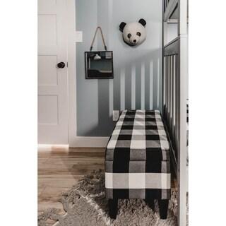 HomePop Large Decorative Storage Bench - Black Plaid