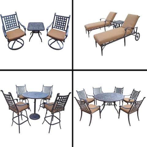 Premier Sunbrella Cushioned Set with 5 Pc Bar Set, 7 Pc Dining Set, 3 Pc Chaise Lounge Set and 3 Pc Swivel Rocker Chat Set
