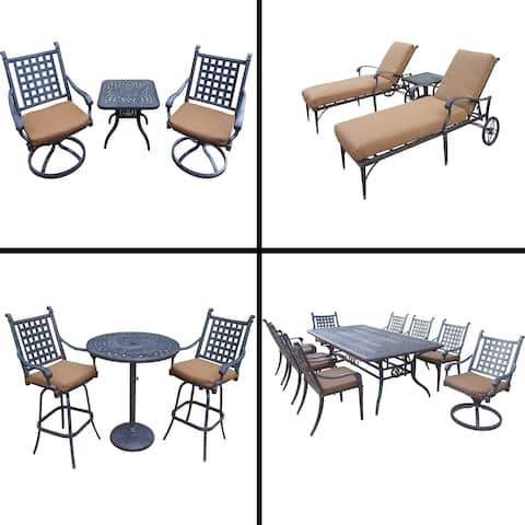 Sunbrella Cushioned Set with 3 Pc Bar Set, 9 Pc Dining Set with Extendable Table, 3 Pc Chaise Lounge and 3 Pc Swivel Rocker Set