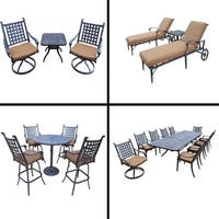 Sunbrella Cushioned Set with 5 Pc Bar Set, 11 Pc Dining Set, Extendable Table, 3 Pc Chaise Lounge Set and 3 Pc Swivel Rocker Set