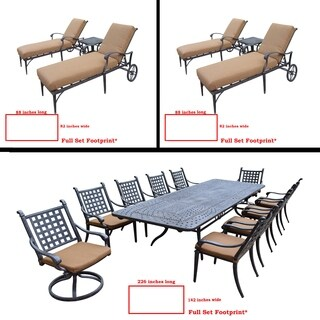 Sunbrella Cushioned Set includes 11 Pc Dining Set with Extendable Table and Two 3 Pc Chaise Lounge Set