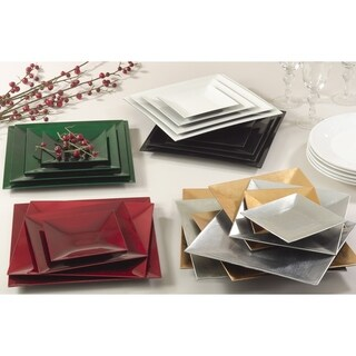 Classic Metallic Square Charger Plate - set of 4 pcs