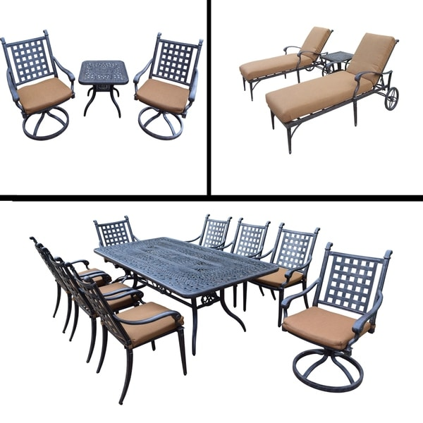 Premier Sunbrella Cushioned Set includes 9 Pc Dining Set, 3 Pc Chaise Lounge Set and 3 Pc Swivel Rocker Chat Set