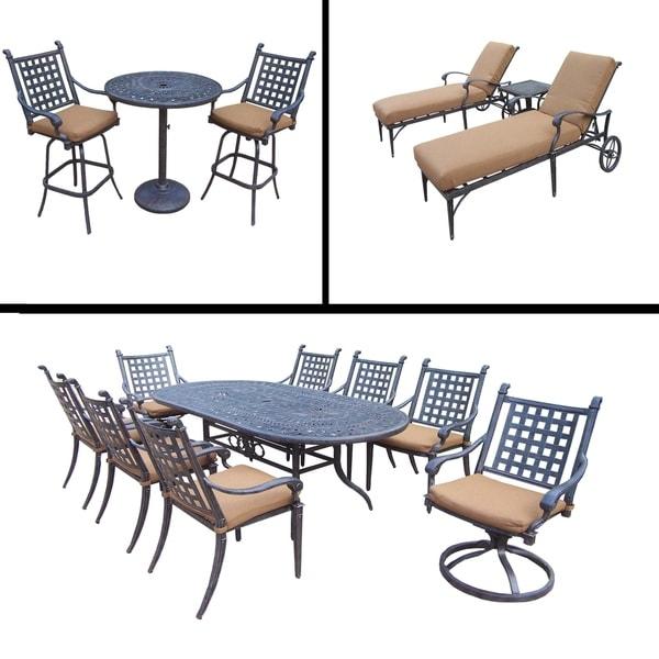 Premier Sunbrella Cushioned Set includes 9 Pc Dining Set, 3 Pc Bar Set and 3 Pc Chaise Lounge Set