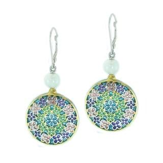 Michael Valitutti Palladium Silver Multi-Color Enamel & Rose Quartz Dangle Earrings