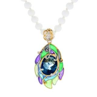Michael Valitutti Palladium Silver London Blue Topaz & Enamel Pendant w/ White Agate Bead Necklace