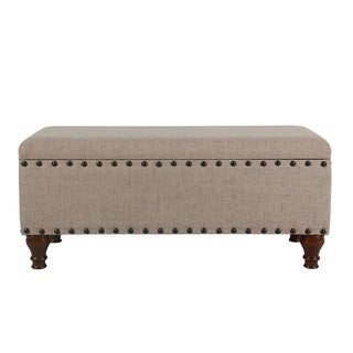 HomePop Tan Fabric and Walnut-finished Wood Flip-top Large Storage Bench With Nailhead Trim