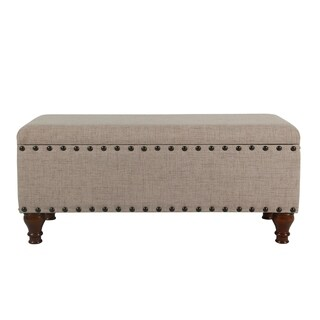 HomePop Large Storage Bench with Nailhead Trim - Tan