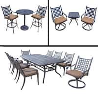 Premier Sunbrella Cushioned Set includes 3 Pc Bar Set, 9 Pc Dining Set with Extendable Table, 3 Pc Swivel Rocker Chat Set