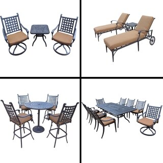 Premier Sunbrella Cushioned Set with 5 Pc Bar Set, 9 Pc Dining Set, 3 Pc Chaise Lounge Set and 3 Pc Swivel Rocker Chat Set