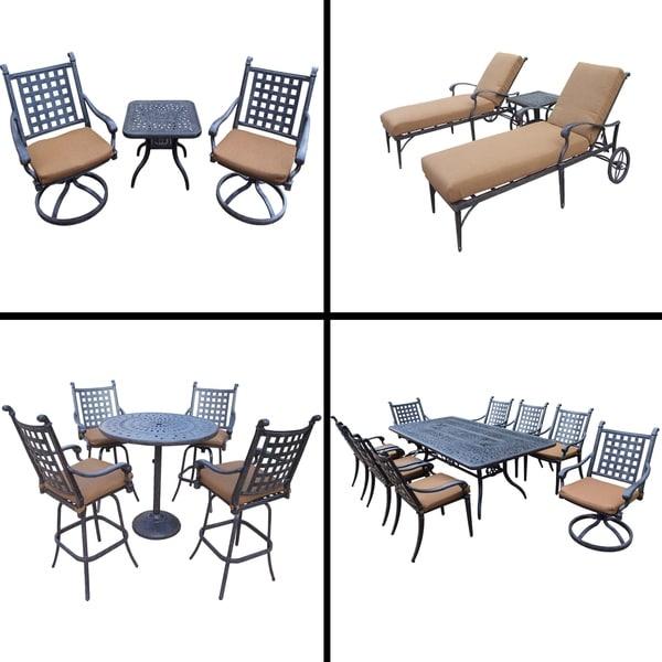 Premier Sunbrella Cushioned Set with 5 Pc Bar Set, 9 Pc Dining Set, 3 Pc Chaise Lounge Set and 3 Pc Swivel Rocker Chat Set