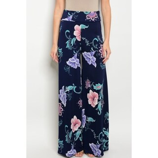 JED Women's Ultra Stretchy High Waist Navy Floral Palazzo Pants